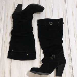 Steven Madden Evvie Black Suede Leather boots
